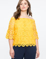Off the Shoulder Crochet Lace Top Citrus