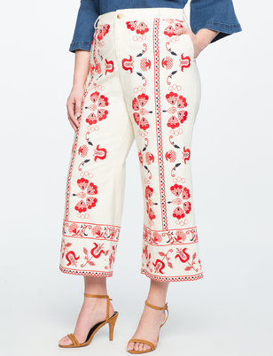 Studio Embroidered Cropped Pant