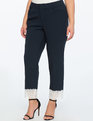 Kady Pant with Lace Cuff Detail Sky Captain/White