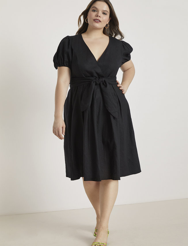 Tie Front Linen Fit and Flare Dress