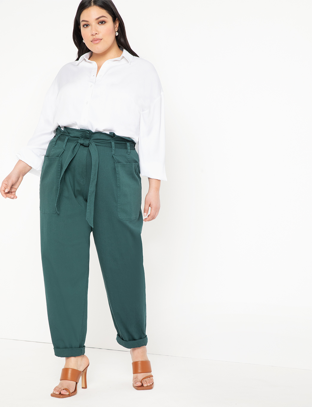 Cinched Waist Pant with Roll Cuff