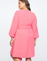 Asymmetrical Fit + Flare Dress with Belt Pink