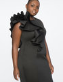 Ruffle Shoulder Dress Totally Black