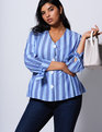 Striped Pleated Button Front Top Bright Cobalt and Allure Stripe