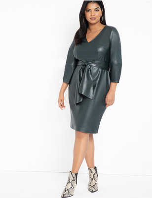 Lantern Sleeve Faux Leather Dress