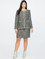 Tweed A-Line Skirt With Trim Black/White W/Sequin