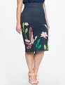 Neoprene Pencil Skirt Birds of Paradise