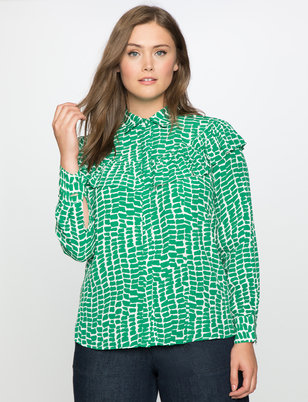 Printed Button Front Blouse with Ruffle Detail