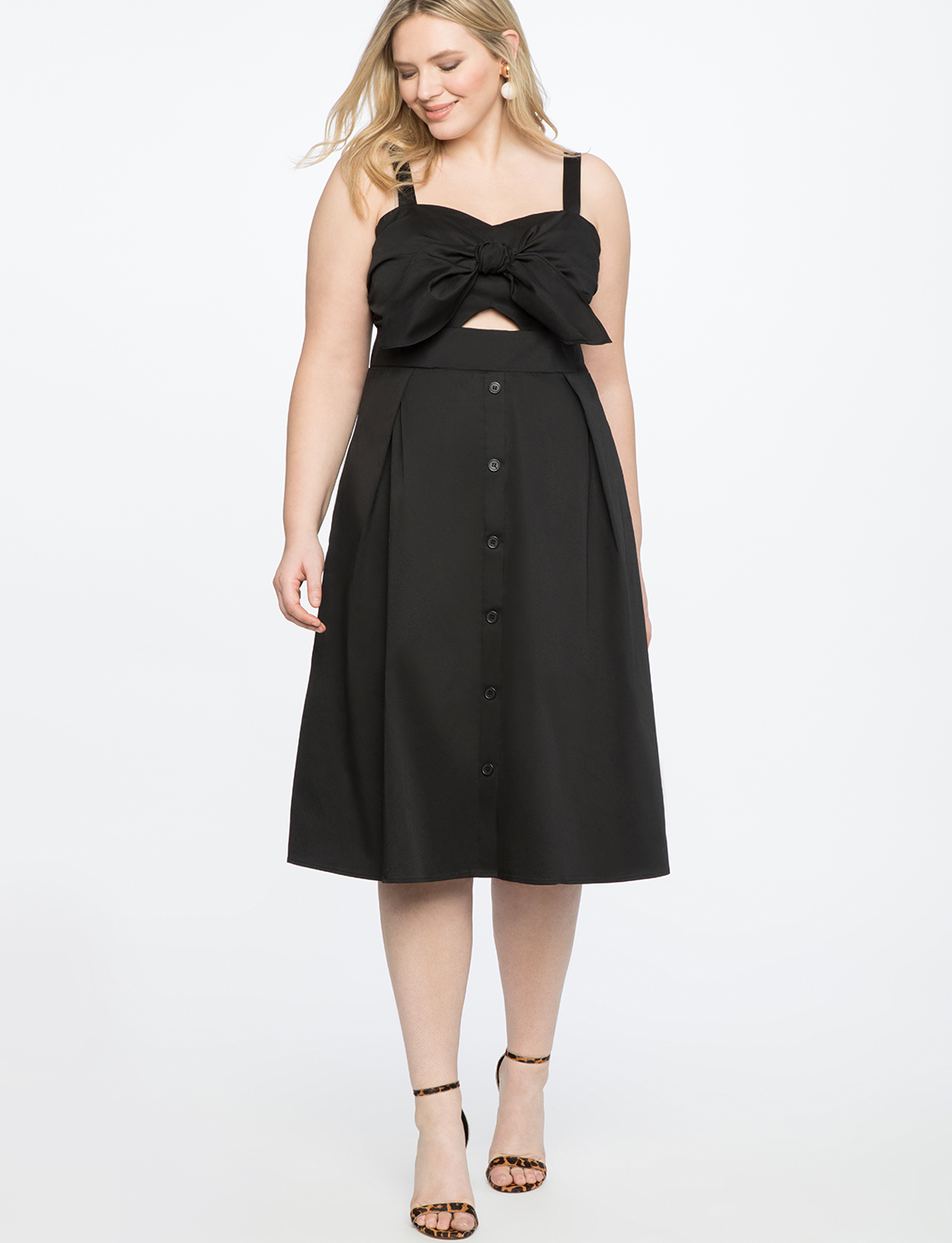 Button Front Bandeau Dress | Women\'s Plus Size Dresses | ELOQUII