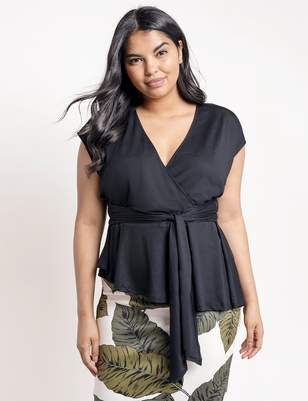 Pleated Sleeve Top with Tie