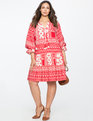 Gathered Sleeve Boho Dress Patchwork Play