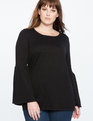 Flounce Sleeve Sweater Totally Black