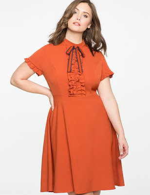 Tie Neck Ruffle Detail Dress