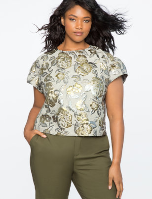 Puff Sleeve Brocade Top