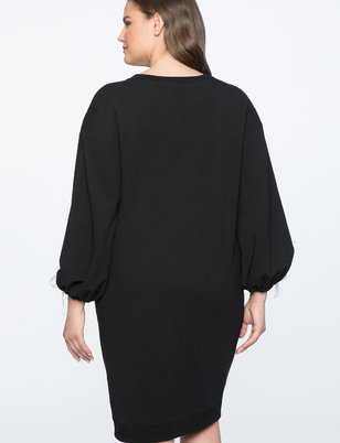 Ballon Sleeve Tie detail Sweater Dress