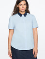 Sequin Collar Short Sleeve Button Down Blue Fox