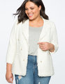 Double Breasted Tweed Blazer Soft White