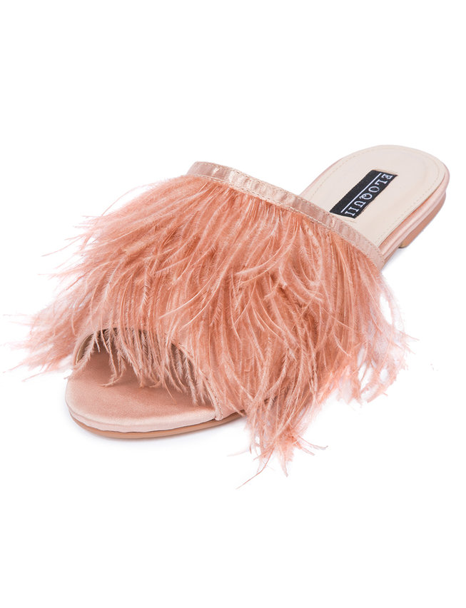 Kyle Marabou Feather Slide Sandal by Eloquii