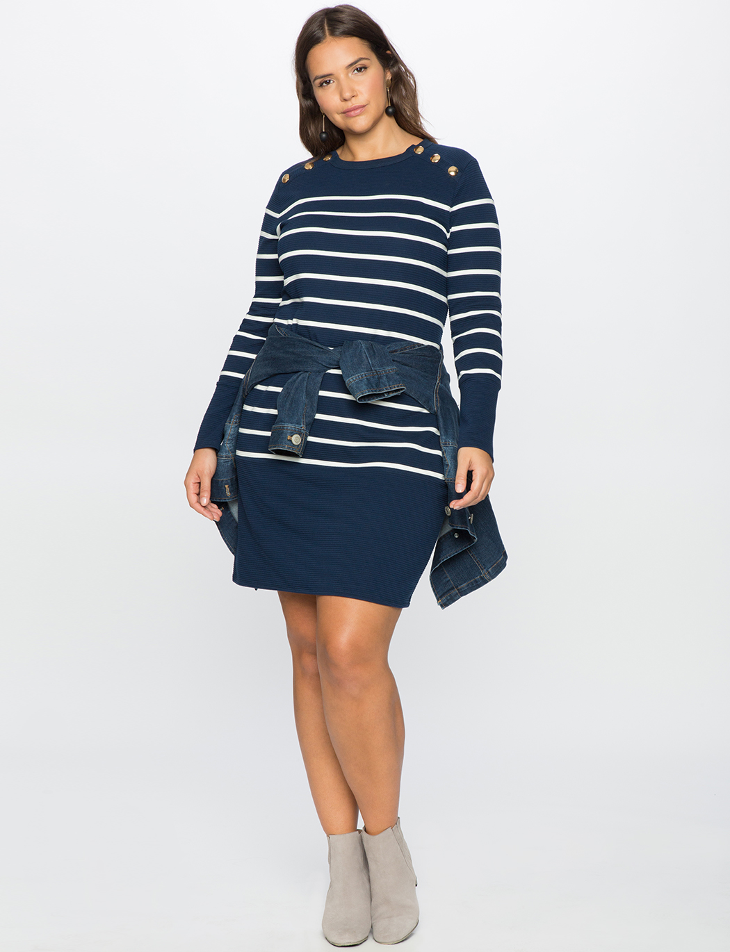 Striped Sweater Dress with Button Detail  b88b0a253