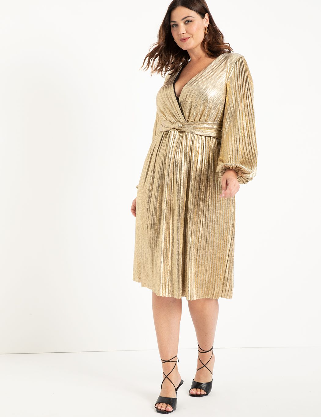 Full Sleeve Pleated Metallic Midi Dress