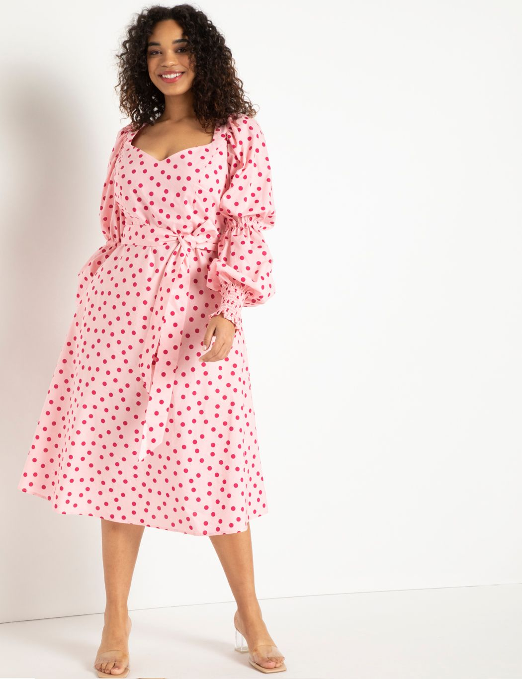 Printed Sweetheart Midi Dress