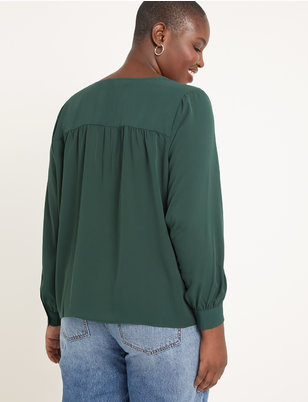 Button Front V-Neck Blouse