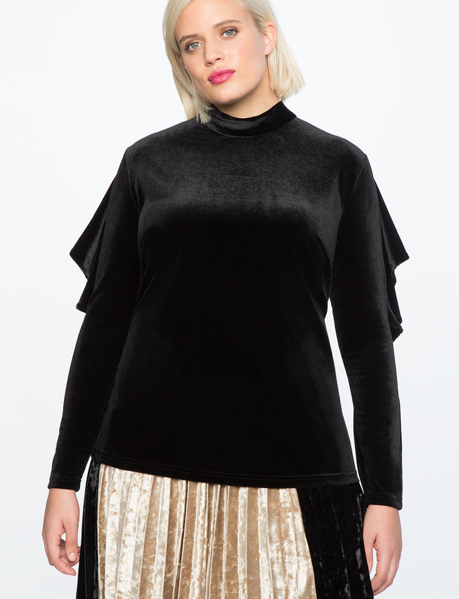 Velvet Ruffle Sleeve Mock Neck Top