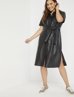 Faux Leather Trench Dress