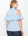 Ruffle Sleeveless Blouse Blue