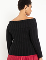 Off the Shoulder Ribbed Sweater Totally Black