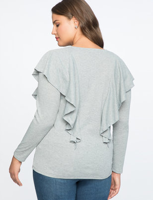 Long Sleeve Tee with Flounce Detail