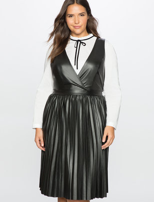 Studio Pleated Faux Leather Dress