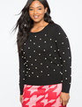 Pearl Embellished Sweater TOTALLY BLACK