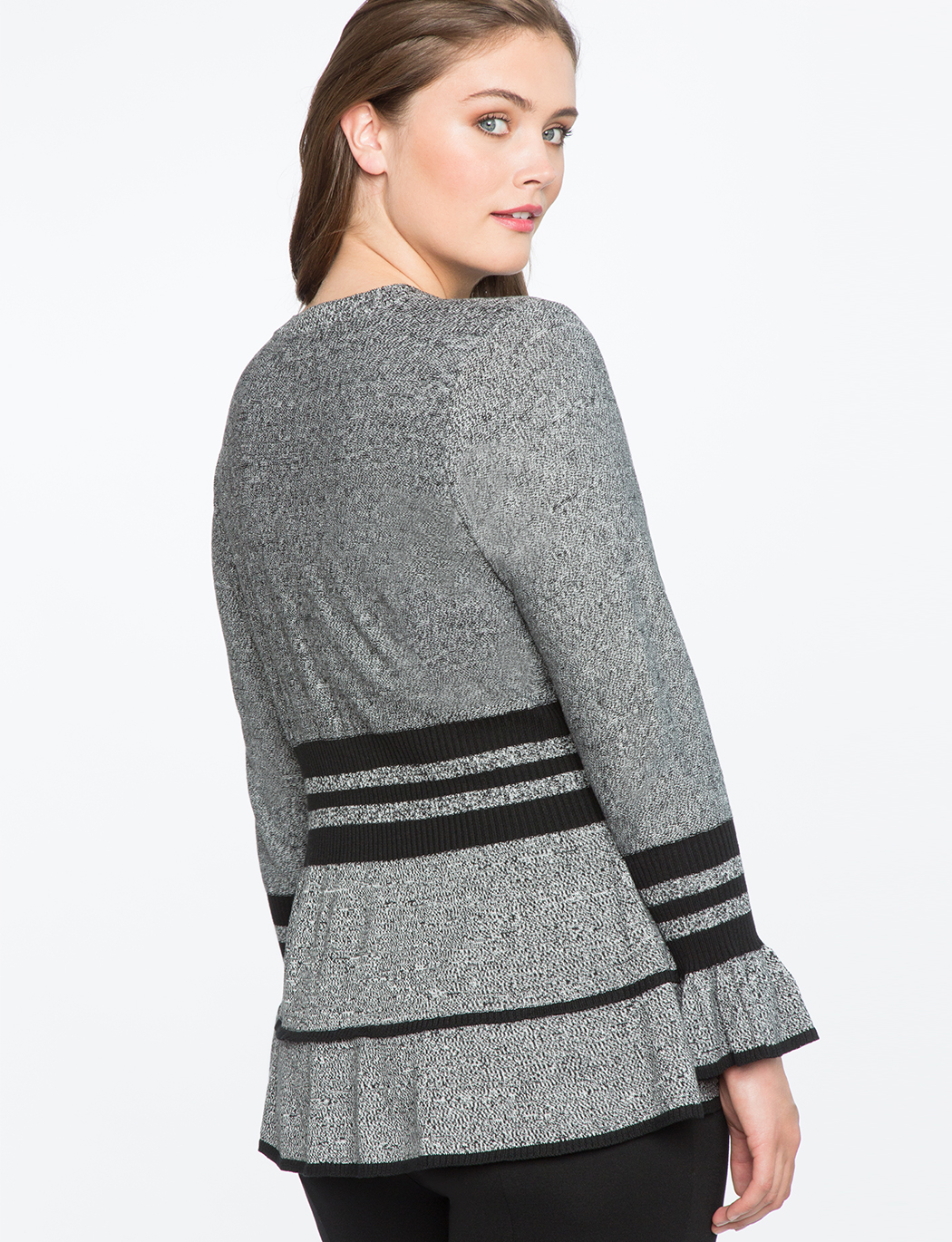 Marled Sweater With Sporty Stripe And Flounce