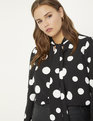 Tie Neck Blouse Black Ground with Soft White Polka Dots
