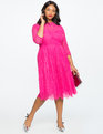 Lace Fit and Flare Dress Pink