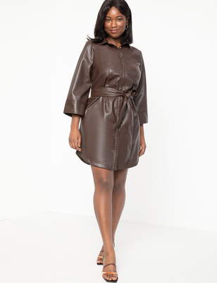 Vegan  Leather Shirttdress