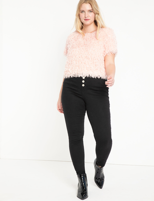 Peach Lift Button Fly Jean