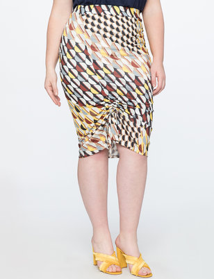 Printed Pencil Skirt with Gathering