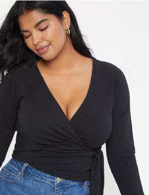 Wide V Neck Wrap Top