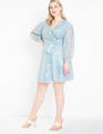 Belted Sequin Lace Dress Dusty Blue