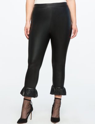 Faux Leather Ruffle Pant