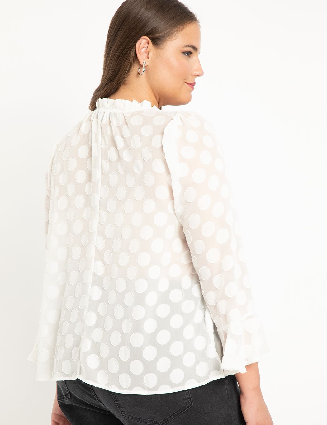 Ruffle Neck Blouse With Flounce Cuff