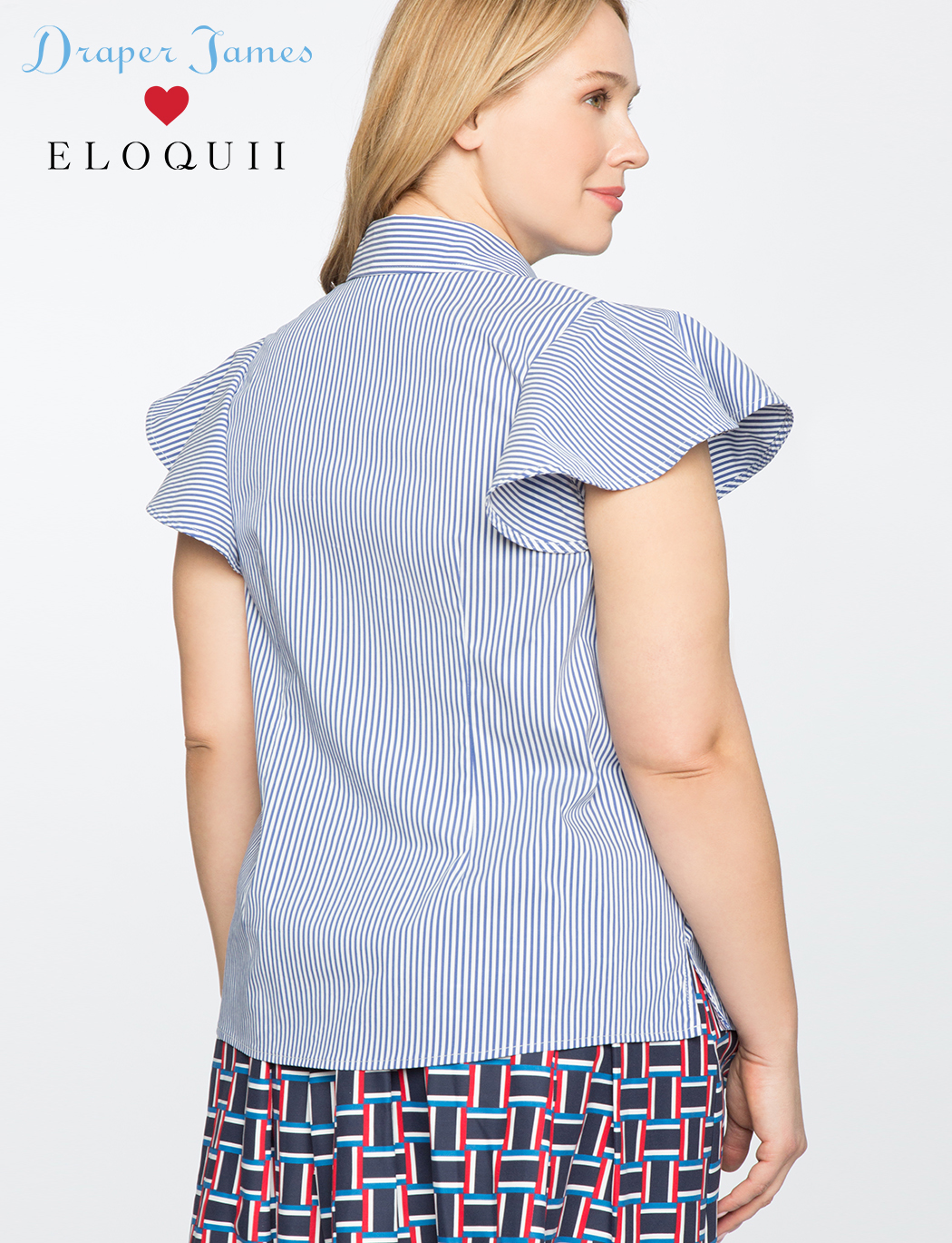 Draper James for ELOQUII Stripe Button Down Flutter Sleeve Top