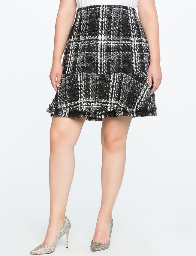 Tweed Fit and Flare Skirt with Frayed Hem