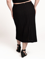 Eyelet Column Skirt with Button Detail Totally Black
