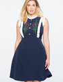 Embroidered Sleeveless A-Line Dress Evenling Blue