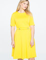 Elbow Sleeve Fit and Flare Dress LEMON SHINE