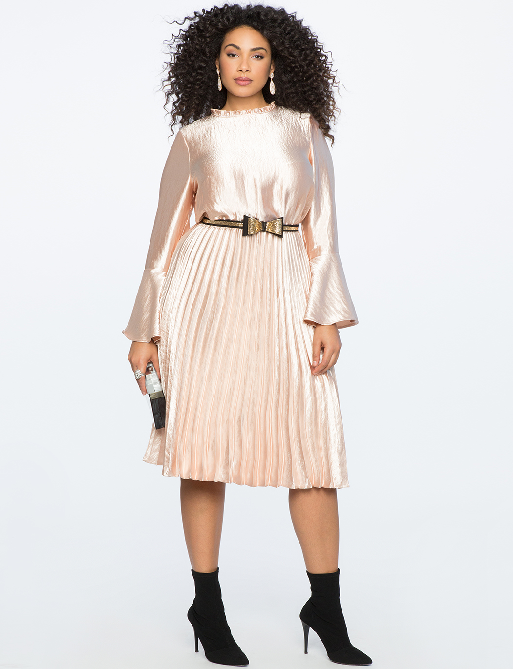 Flared Sleeve Dress with Pleated Skirt