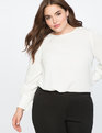 Puff Sleeve Top with Pearl Details Soft White